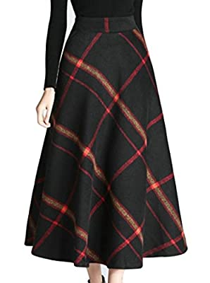 Cruiize Womens Classic Plaid High Waist Swing Stretch Wool Long Skirt