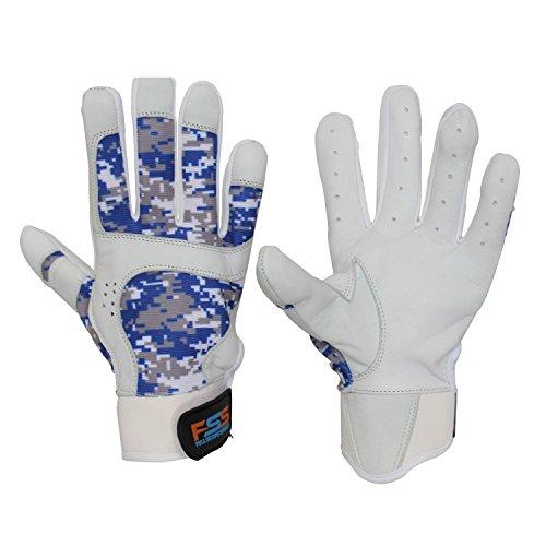 FullScope Sports Baseball Batting Gloves for Adult Boys Girls Youth Pro Softball Glove (Blue/Gray/White Digital Camo) Youth Medium (Ages 7-8 yrs Old)