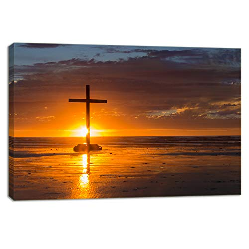 Christian Photo - KALAWA Religious Jesus Christ Spiritual Canvas Prints Wall Art Red Christian Cross Standing on A Rock in The Sea Picture for Living Room Stretched and Framed Ready to Hang(16''W x 24''H)