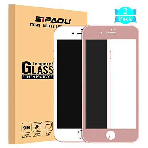 [2 Pack] iPhone 8 Screen Protector, SIPAOU iPhone 7 Full Coverage Tempered Glass Screen Protector Film with Soft Frame [Edge to Edge Protection][No Break Edge] for iPhone 8/7 4.7 Inch-Rose Gold ()