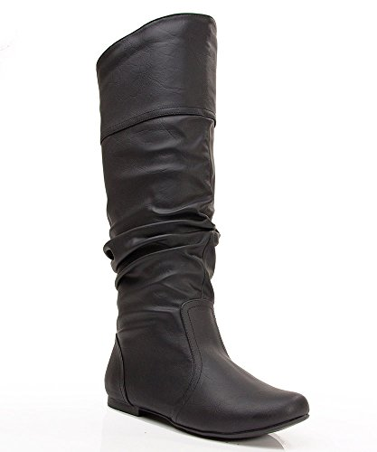 Qupid Women's Mid Calf Velvet Knee High Slouch Flat Cowboy Riding Boots Fashion Shoes BLACK (Flat Slouch Boot)
