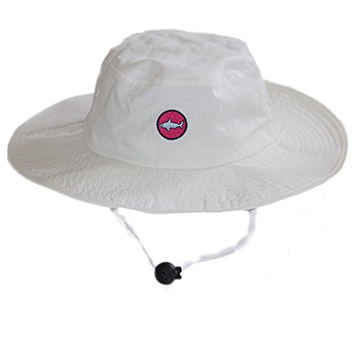 White and Hot Pink Shark UPF 50+ Sun Protective 100% Cotton Bucket Hat with Wide Brim for Boaters, beachgoers, Sailors and Fisherman