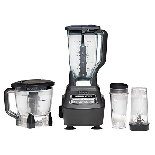 - Nutri Ninja Blender/Food Processor with 1500-Watt Auto-iQ Base, 72oz Pitcher, 64oz Processor Bowl, (2) 16oz Smoothie Cups, Dough Blade and More (BL770)