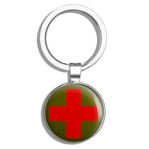 Round Combat Medic Cross Logo (red Cross Army Green) Metal Round Metal Key Chain Keychain Ring ()