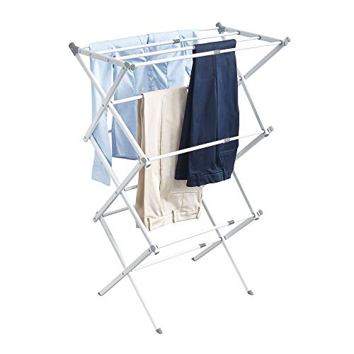 InterDesign Brezio Expandable Clothes Drying Rack for Laundry Room - 3 Tiers, White/Gray