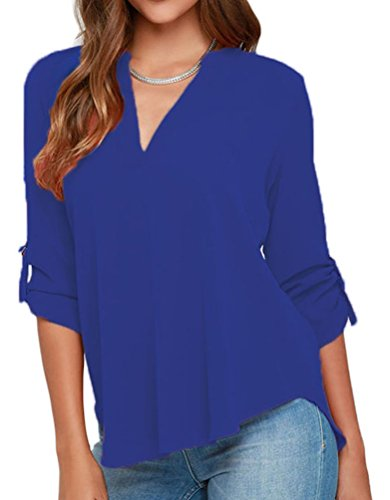 Blue Chiffon (Grace Elbe Women's Casual V Neck Cuffed Sleeves Solid Chiffon Blouse Top Royal Blue Medium)