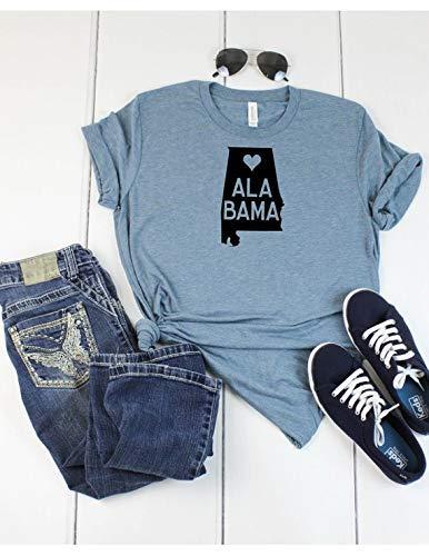 8431f6244aa5 Alabama State T shirt - Love Alabama T shirt - Womens/Unisex T shirt -  Denim Colored - Soft Tee