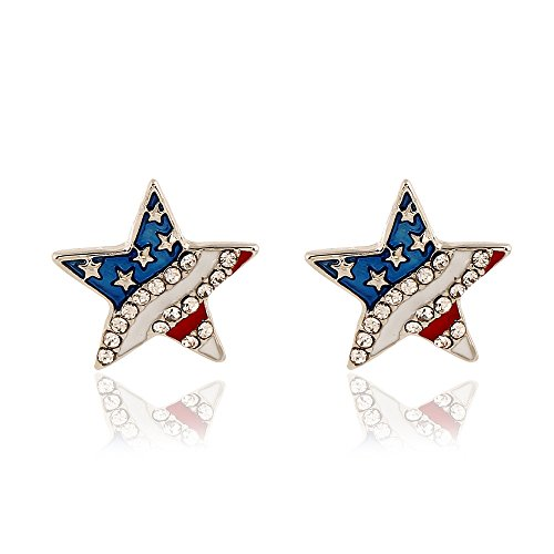 CrazyPiercing USA American National Flag Patriotic Red White Blue Stars Stripes Stud Earrings Jewelry