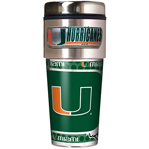 Great American Products NCAA Miami Hurricanes Metallic Travel Tumbler, (Miami Hurricanes Travel Tumbler)