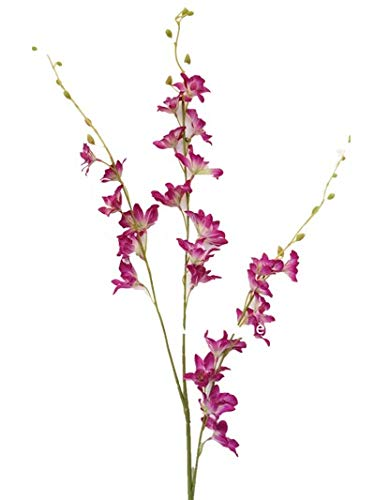 Sweet Home Deco 40'' Silk Dendrobium Orchid Artificial Spray (Set of 2) for Wedding/Home Decorations (Fuchsia)