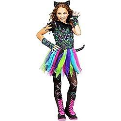 Fun World - Disfraz de Gato arcoíris Salvaje, Talla Mediana 8-10, Multicolor