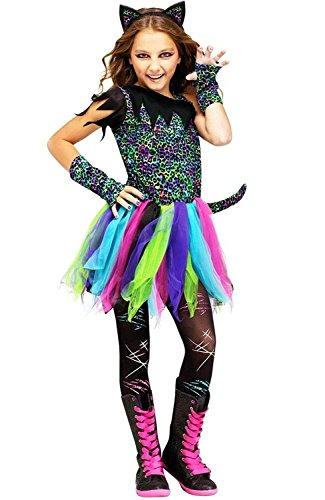 Fun World Wild Rainbow Cat Costume, Medium 8 - 10, Multicolor