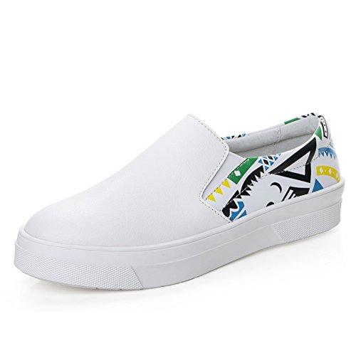 Manantiales Zapatitos Blanco,Jurchen Casuales Zapatos De Cuero,Manoletinas,Zapatos Mocasines De Suela Gruesa,Zapatos De La Muchacha Del Estudiante Del A