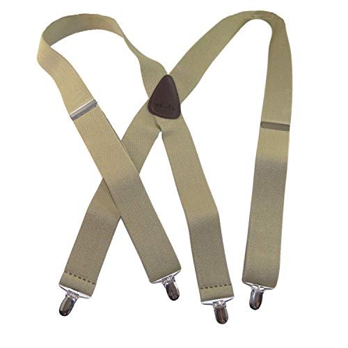 Classic Series HoldUps brand USA Made Tan X-back Suspender with Silver No-slip Clips