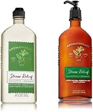 Bath & Body Works, Aromatherapy Stress Relief Body Lotion and Body Wash & Foam Bath, Eucalyptus Spearmint - New 2018 Packaging (Bundle of 2)