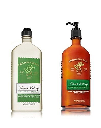 Bath & Body Works, Aromatherapy Stress Relief Body Lotion and Body Wash & Foam Bath, Eucalyptus Spearmint - New 2018 Packaging (Bundle of 2)