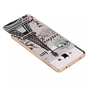 HJZ Eiffel Tower Metal Frame Full Embossment Pattern Back Case for Samsung Galaxy A3