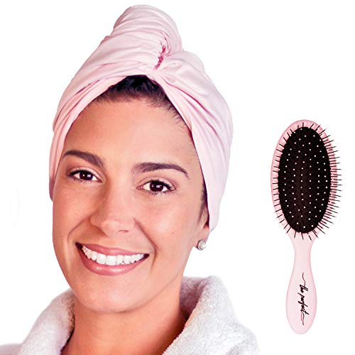 (Ultra-Fine Microfiber Hair Towel Wrap - Anti-frizz Fast Drying Turban with Wet/Dry Brush (Pink))