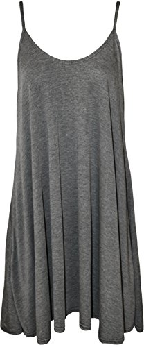 WearAll - Grande taille mini-robe top swing  sangles - Robes - Femmes - Tailles 44  54 Gris Fonc