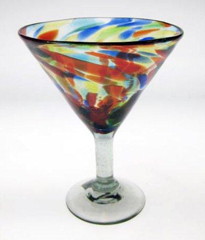 Mexican Glass Margarita/Martini Confetti Swirl, 15 oz, set of 4