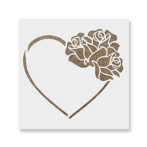 Heart with Roses Stencil Template for Walls and Crafts - Reusable Stencils for Painting in Small & Large Sizes ()