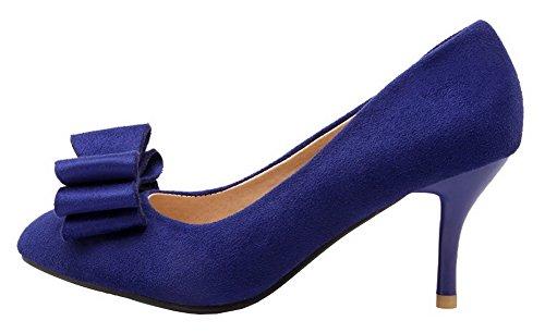 Allhqfashion Womens Scarpe Stringate In Camoscio Blu Con Tacco Alto Imitato