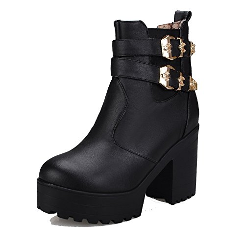 WeenFashion Solid Round Women's Low Closed High top Heels Black Boots Toe PU HrqHaA