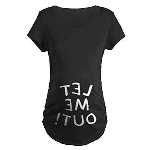 Q.KIM Camiseta de maternidad Elasticidad Suave Embarazada Camiseta Premamá T-shirt bebé divertido estampado - para mujer Let me out,Negro