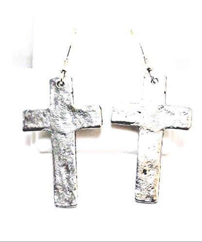 Pewter Hammered Cross Charms on Hypoallergenic French Hook Dangle Earrings (French Hook Cross Earrings)