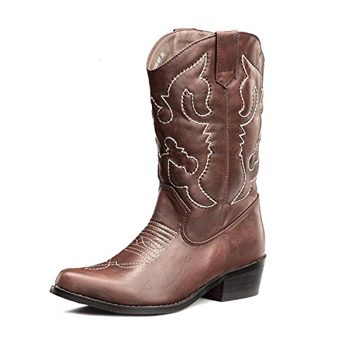 Boots Women Shaft - SheSole Women's Western Cowgirl Cowboy Brown Boots Size 9