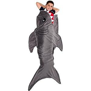 Silver Lilly Animal Tail Blanket - Plush Animal Sleeping Bag Blanket for Kids (Shark)