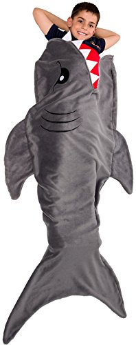 Silver Lilly Animal Tail Blanket - Plush Animal Sleeping Bag Blanket for Kids (Gray Shark)