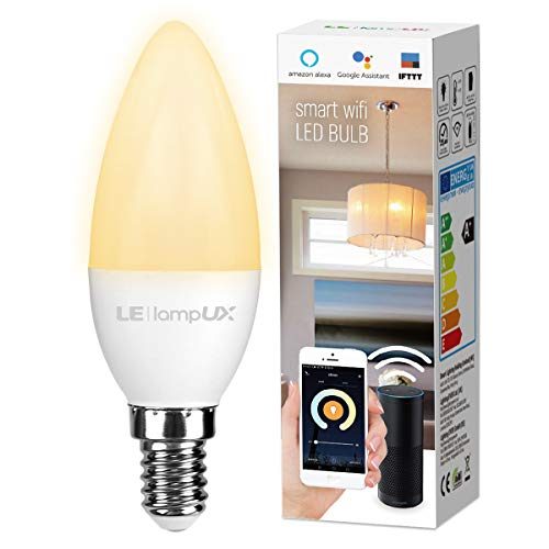 LE LampUX Smart WiFi E12 Light Bulb, 40W Equivalent Candelabra Led Bulbs Compatible with Alexa Google Assistant, No Hub Required, Dimmable, Tunable White (2700-6500K, Soft to Daylight, 4.5W)