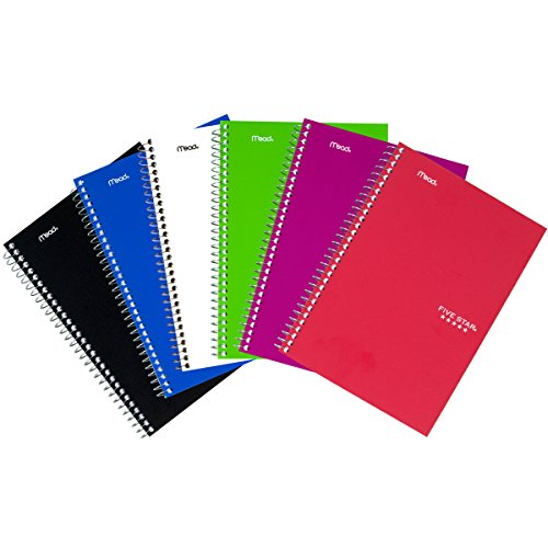 Five Star Spiral Notebooks, 2 Subject, College Ruled Paper, 100 Sheets, 9-1/2'' x 6'', Assorted Colors, 6 Pack (73711) by Five Star