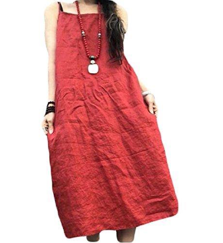 Coolred-femmes Épissures Lin Couleur Unie Et Spaghetti Coton Bretelles Robe D'été Rouge