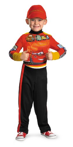 [Disguise Disney Cars 2 Lightning Mcqueen Pit Crew Classic Boys Costume, X-Small/3T-4T] (Cars Movie Costumes)