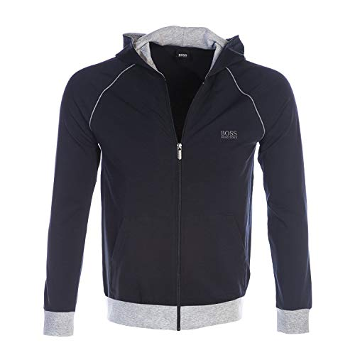 BOSS Mix & Match Full Zip Hooded Sweat Top in Navy with Grey Trim S