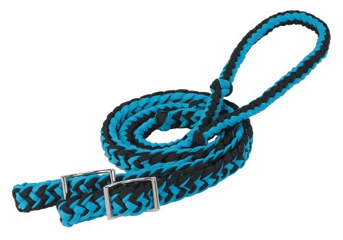 Weaver Leather Braided Nylon Barrel Rein, Hurricane Blue/Black