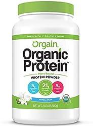 Orgain Organic Plant Based Protein Powder, Vanilla Bean - Vegan, Low Net Carbs, Non Dairy, Gluten Free, Lactos