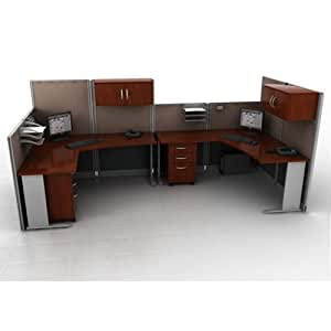 Bush Business Furniture Two Person Workstation with Panels & Storage, Gray-Blue Fabric/Hansen Cherry