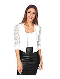 KRISP Womens 3/4 Lace Sleeve Slim Casual Bolero Cropped Evening Shrug Cardigan