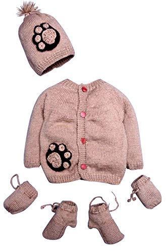 (Hand Made 4 Piece Unisex Cute Puppy Paws Baby Crochet Set- Newborn Wool Sweater Set Includes- Booties, Mittens & Hat)
