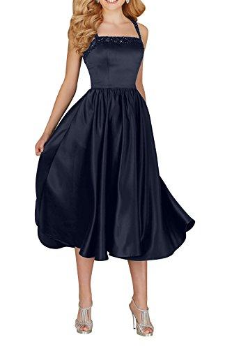 Blau Damen Formalkleider Kurz Charmant Partykleider Schwarz festlichkleider Neckholder Elegant Navy Abendkleider Satin FOdZPwqO
