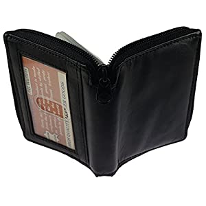 AG Wallets Mens Genuine Leather Zipper Around Bifold Wallet with Outside ID Black