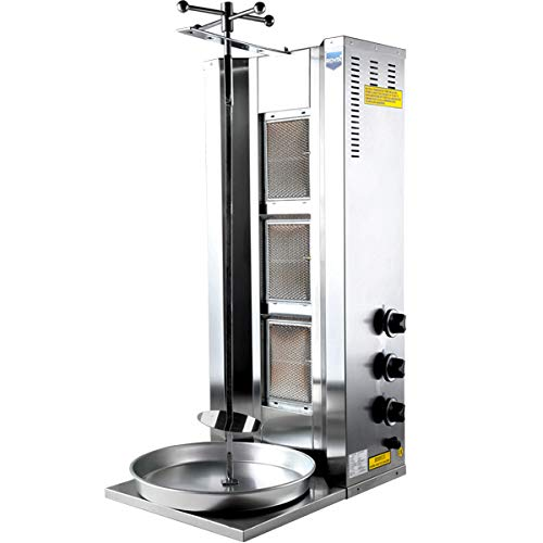 Professional Commercial Set Meat Capacity 35 kg / 77 lbs. Rotating Spinning Grills Vertical Broiler 3 Burner Works with Propane Gas LPG Shawarma Gyro Doner Grill Kebab Tacos Al Pastor Machine ()