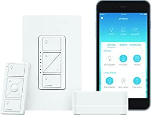 Lutron Caseta Wireless Smart Lighting Dimmer Switch Starter Kit, P-BDG-PKG1W-C, White, Works with Amazon Alexa