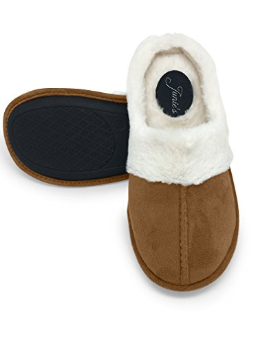Fur Plush Lined Slipper Insole Womens Clog Foam Memory Taupe Junies w House 5xw7Yvq