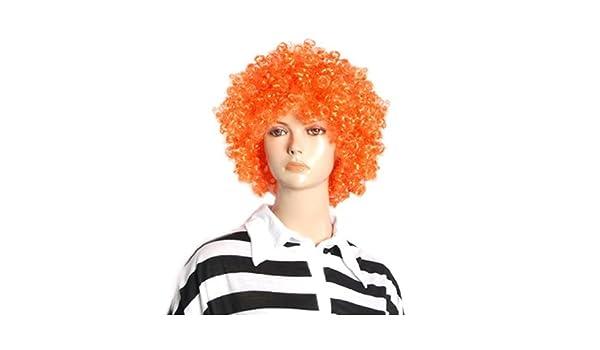 Amazon.com: Payaso de Circo extensiones de Cabello peluca eDealMax de Halloween Hombres Mujeres Orange rizado Afro: Health & Personal Care