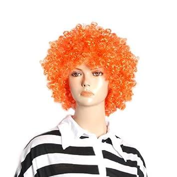 Payaso de Circo extensiones de Cabello peluca eDealMax de Halloween Hombres Mujeres Orange rizado Afro