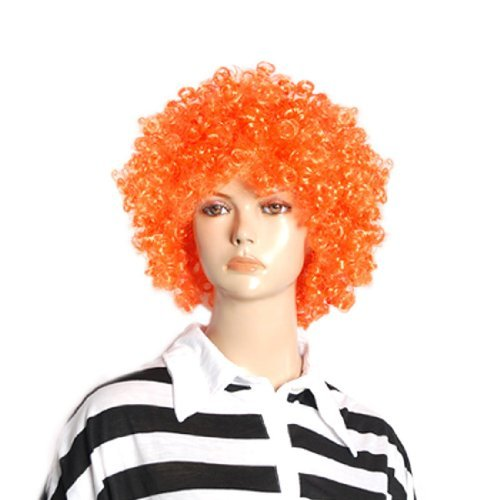 DealMux Halloween Men Women Orange Curly Afro Circus Clown Wig Hair Extensions ()